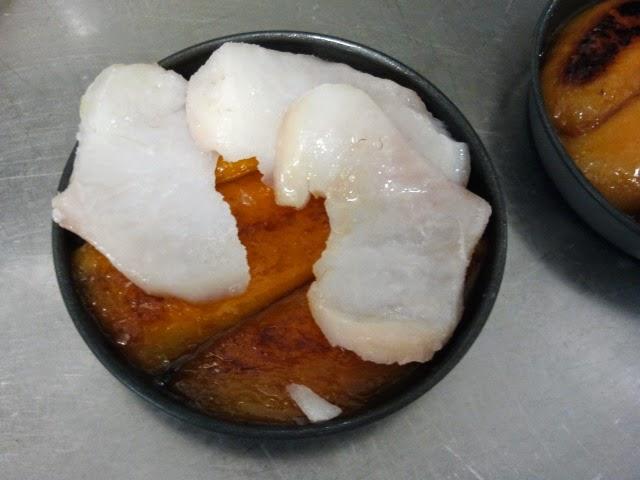 tarte tatin mangue et cabillaud