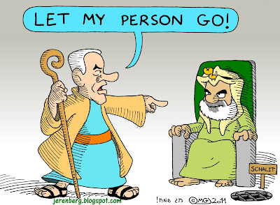 let my person go pesach passover netanyahu as moses haniyah as pharaoh schalit imprisoned
