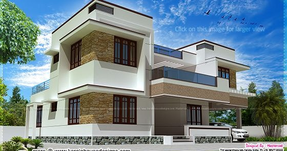 Home Design Ideas Elevation: Modern Flat Roof Villa Exterior Elevation