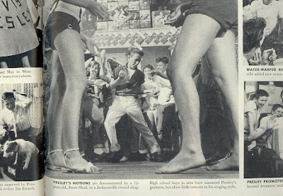 PRESLEY'S MOTIONS are demonstrated, from Life Magazine, August 27, 1956, page 105