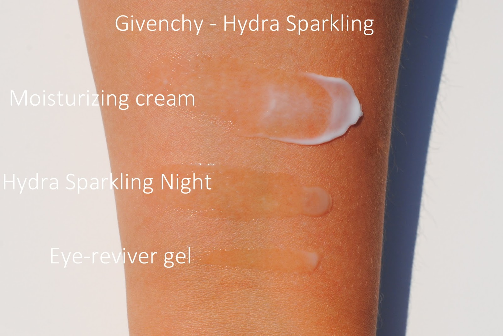 givenchy hydra sparkling swatches moisturizer eye cream night mask