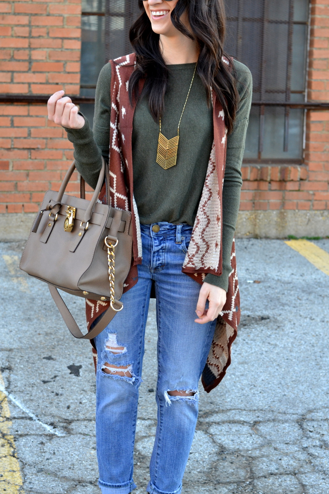 Casual Boho Look with Ripped Denim