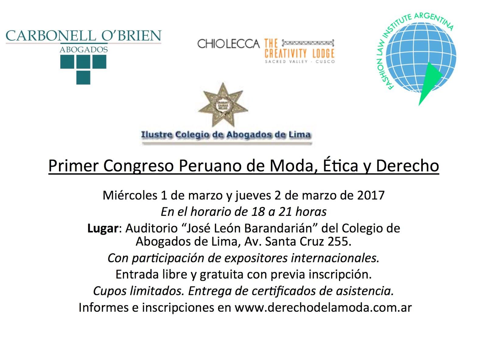 Primer Congreso Peruano de Moda, Etica y Derecho