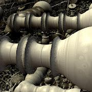 今回の造形は、昔のプラントで使われていた配管(パイピング)を思わせる。
