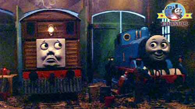 Ghostly trick frighten Tram Toby the tank engine and Thomas the tank engine in a engine wooden shed
