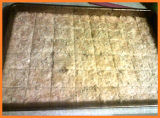 Slightly browned cookies, cut into squares:  6 rows, 8 columns