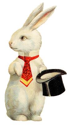"""Винтаж Пасхи Изображения - Причудливый Белый Кролик """" Top Hat"""""""