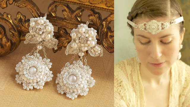 pearl bridal chandelier earrings and art deco lace bridal head band