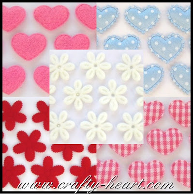 Fabric Embellishments - Hearts and Flowers