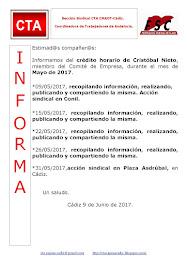 C.T.A. INFORMA CRÉDITO HORARIO CRISTOBAL NIETO, MAYO 2017