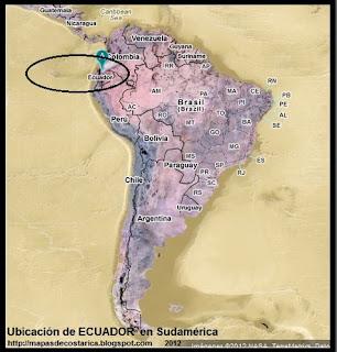 Ubicación de ECUADOR en Sudamérica