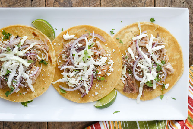 Carnitas Street Tacos - get the recipe at barefeetinthekitchen.com