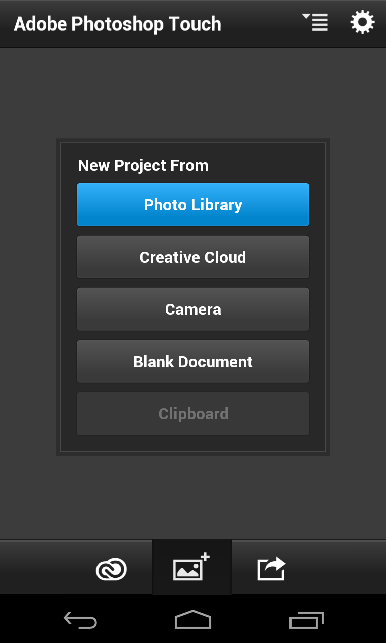Photo editing on android photoshop touch android coliseum unlike the express app it doesnt start from the gallery as like photoshop you tend to work on projects so they ask if you want to pick up where you left ccuart Choice Image