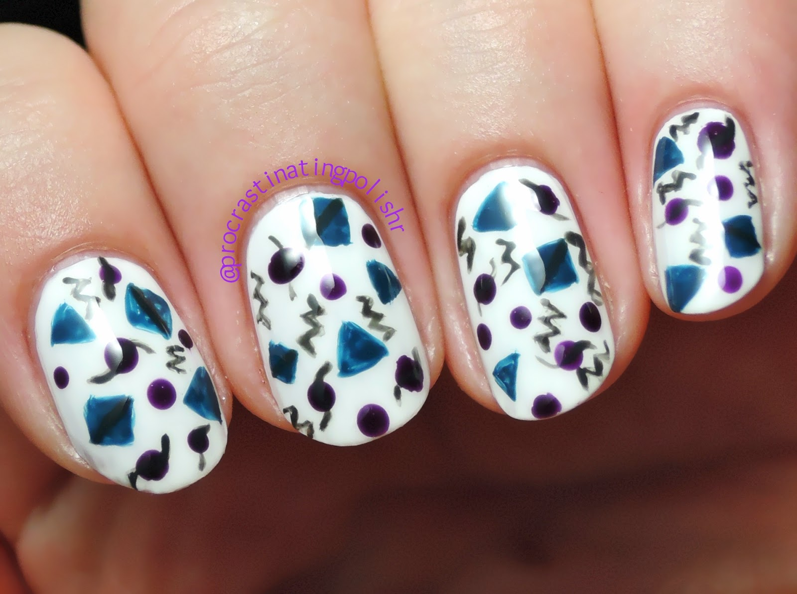 Dark 80's pattern nail art with Ulta3 | #52WPNMC
