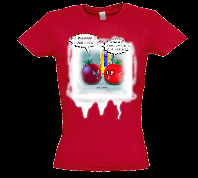 "Camiseta manga corta para mujer ""Tomates que hablan"" color rojo"