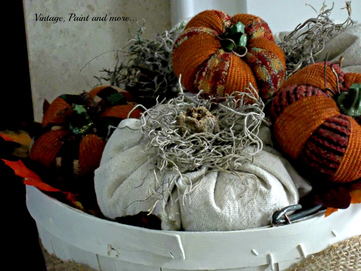 Vintage, Paint and more... pumpkins made from drop cloth fabric, wooden basket and burlap ribbon