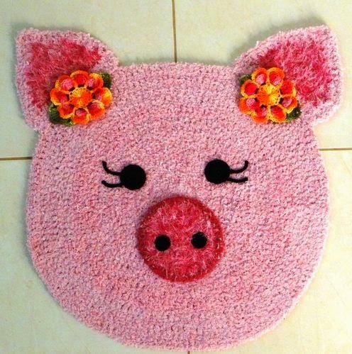 tapete de croche infantil porco rosa