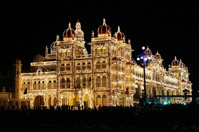 illuminated exterior of amba vilas palace maharajas mysore palace india with lights