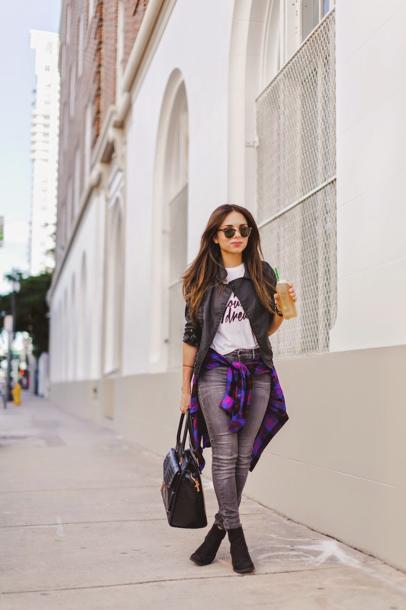 fashion, miami fashion, miami fashion blogger, fashion bloggers, daniela ramirez, nany's klozet, juiice detox, plaid shirt, grey jeans, leather jacket