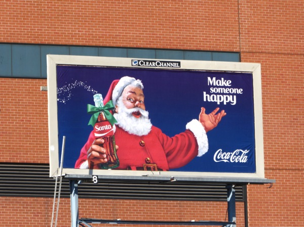 Make someone happy Coca Cola Santa billboard 2015