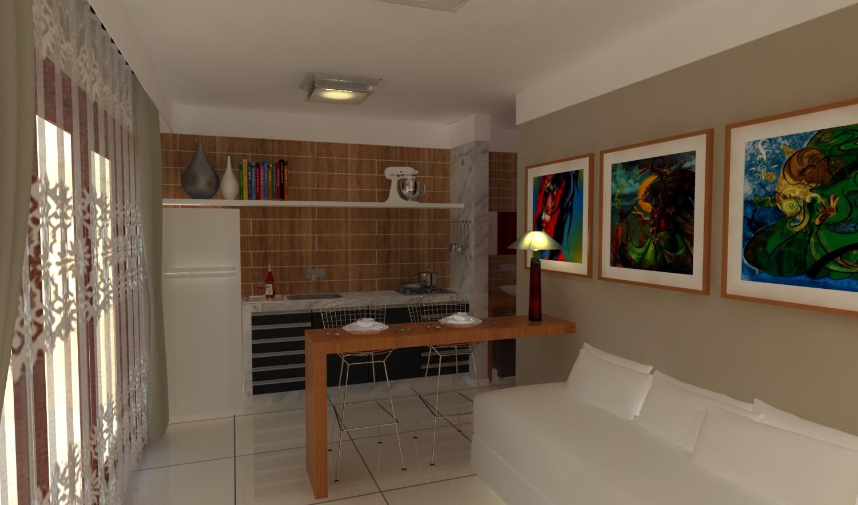 Vista da sala olhando a partir da mini cozinha para o estar. #133F5F 1500 883