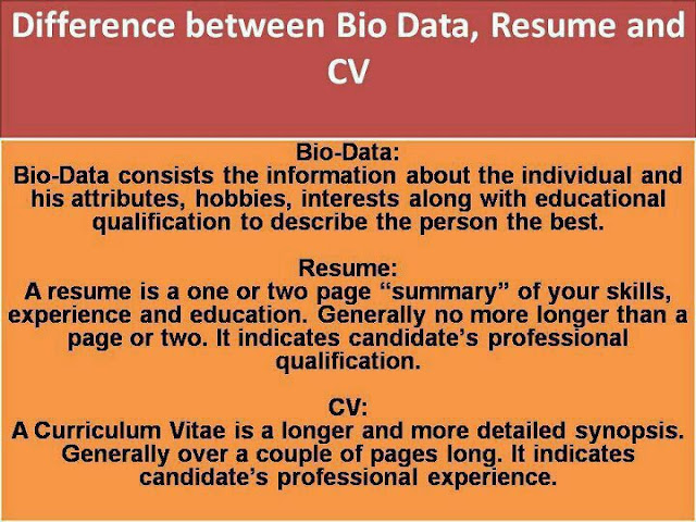 Difference Between CV Dio Data Resume