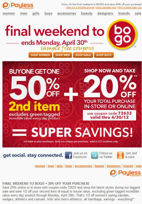 Payless discount coupons