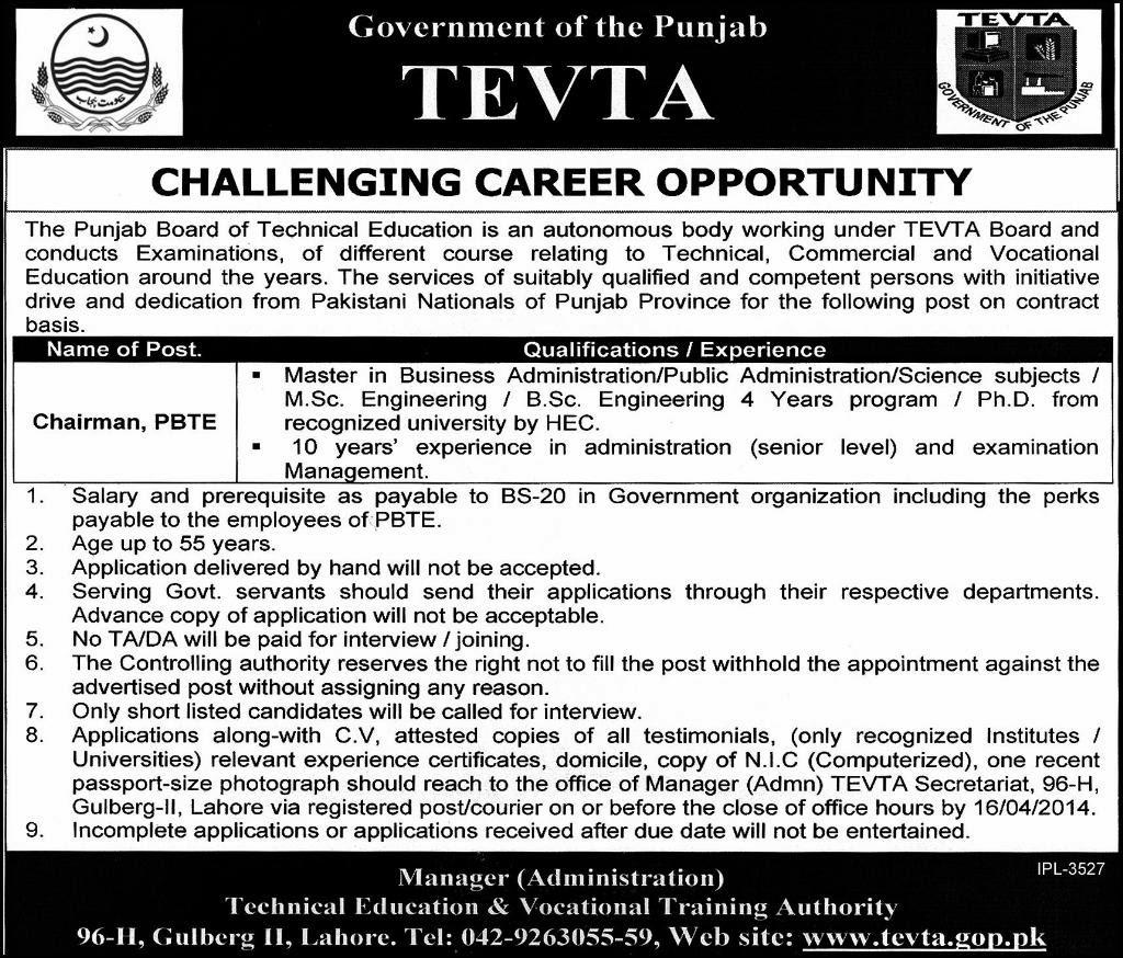 FIND  JOBS  IN  PAKISTAN   CHAIRMAN,  PBTE  JOBS  IN    PAKISTANTAN   LATEST  JOB  IN  PAKISTAN