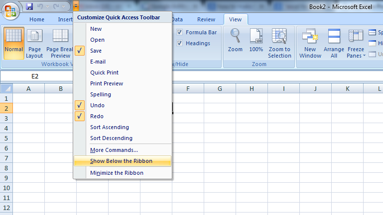 Customize quick access toolbar - excel form
