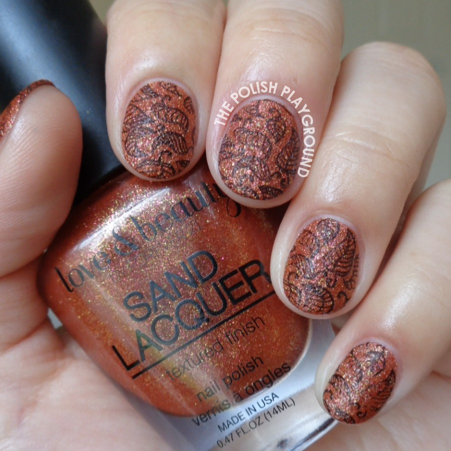 Burnt Gold Texture with Black Leaves Stampng Nail Art