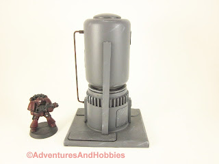 Short vertical storage tank for 25-28mm scale wargames - rear view.