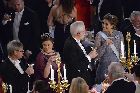 Crown Princess Victoria of Sweden and Prince Daniel, Prince Carl Philip and Princess Sofia, Princess Madeleine and Christopher O'Neill, Princess Christina attend the Nobel Prize Banquet 2015