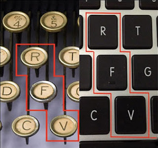 Why QWERTY keyboard layout is like this. diagonal rows
