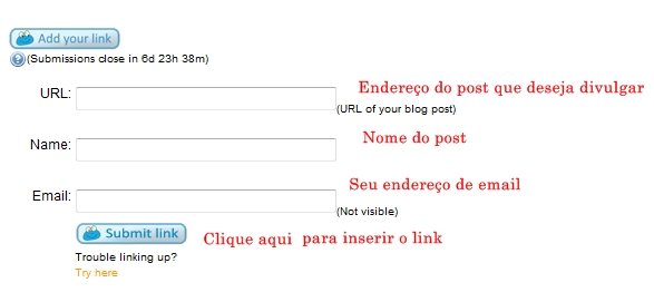 Amostra do formul&aacute;rio para inserir links