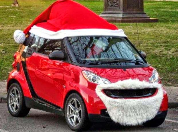 santa hat and beard on smart car female used car expert blog simon shield