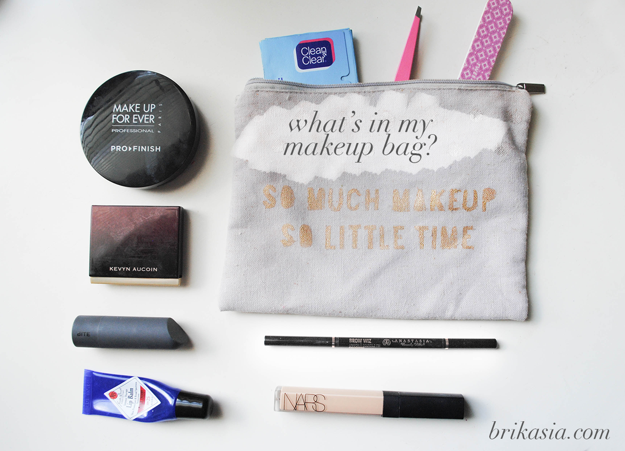 diy makeup bag, make up for ever pro finish powder, kevyn aucoin creamy glow pravana, bite beauty fig lipstick, jack black intense therapy lip balm, nars radiant creamy concealer, anastasia brow wiz