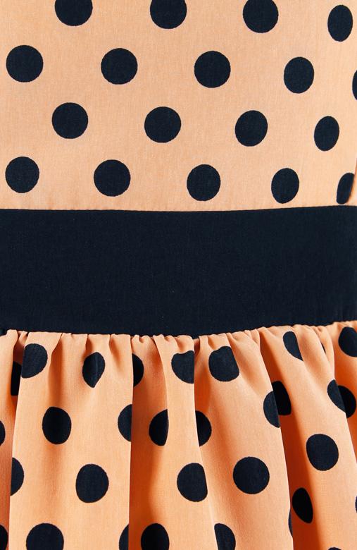 Mustard Charming Polka Dot Dress with Black Ribbon Back