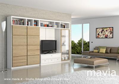 3d Pareti attrezzate per arredamento soggiorno moderno rendering 3d in ...