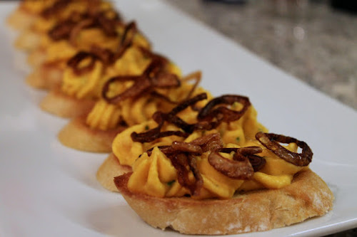 Butternut Squash and Goat Cheese Crostini with Crispy Shallots