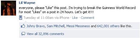 Status Facebook Dengan Like Terbanyak Di Dunia..!!