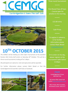 Poster for the Cambridgeshire and Essex Open minigolf championship