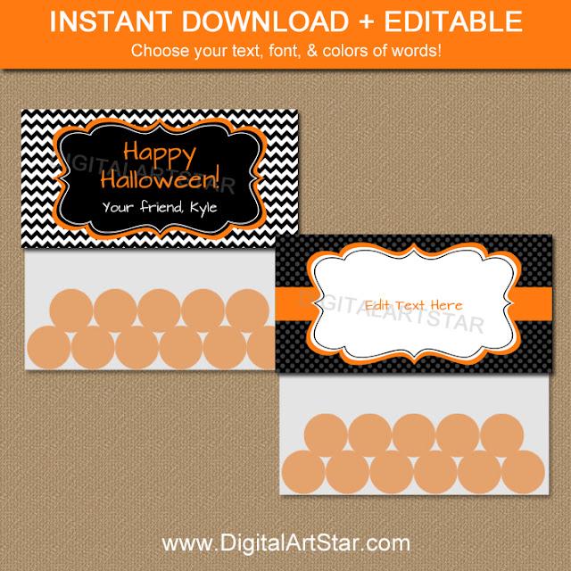 editable printable halloween treat bag toppers