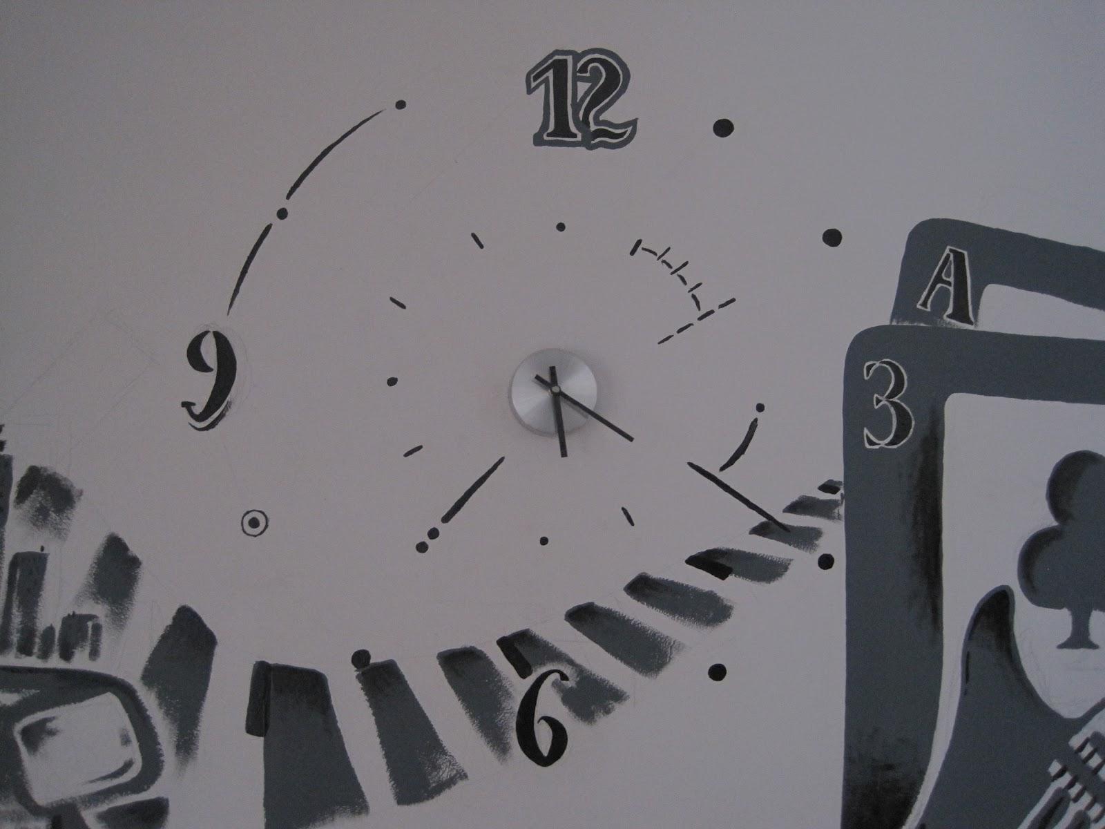Creando mural reloj de sal n - Relojes para salon ...