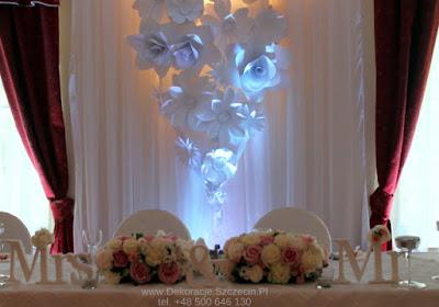 stół Pary Młodej - dekoracja