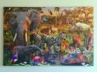 How to mount a large jigsaw puzzle in without glue - African Animals thumbnail
