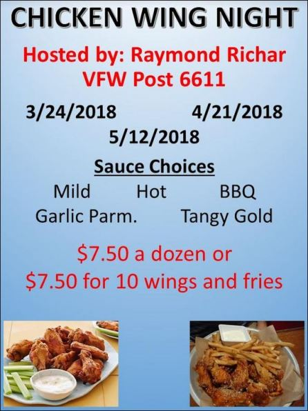 4-21 Chicken Wing Night Galeton VFW