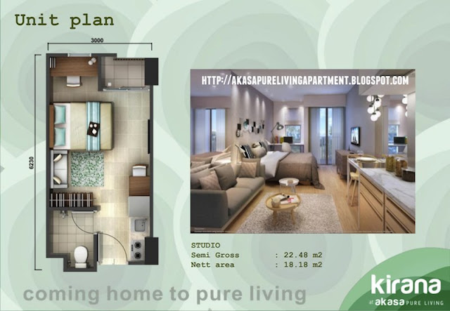 Tipe Studio Akasa Pure Living BSD Apartment Tower Kirana