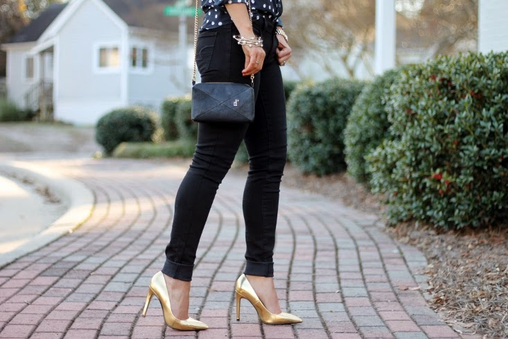 Zara Gold Pumps with Black Skinny Jeans