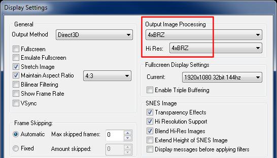 EmuCR: Snex9x with xBRZ scaler