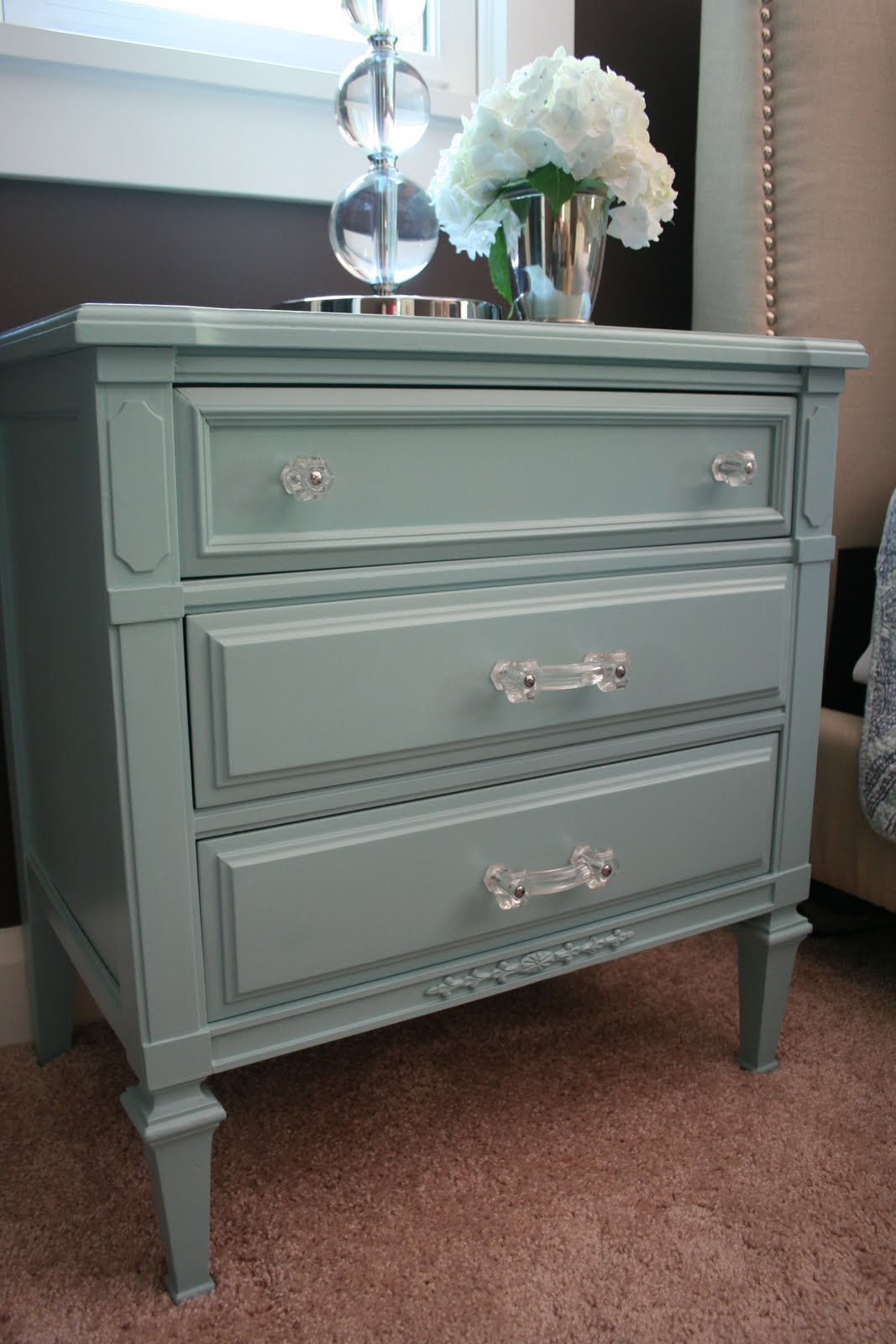 stuck on hue bedroom update turquoise nightstand before after